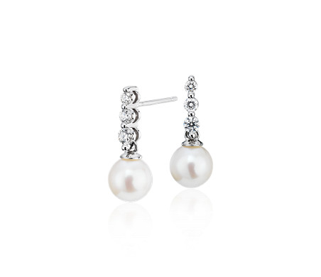 Freshwater Cultured Pearl Trio Diamond Drop Earrings in 14k White Gold (1/3 ct. tw.)