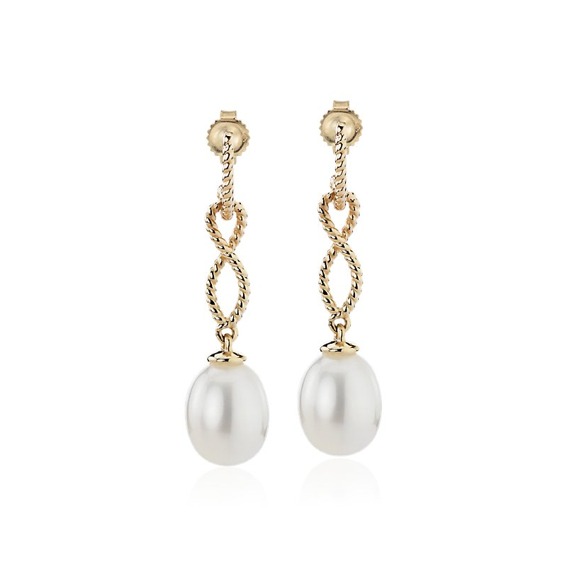 Freshwater Cultured Pearl Earrings with Infinity Twist Drop in 14