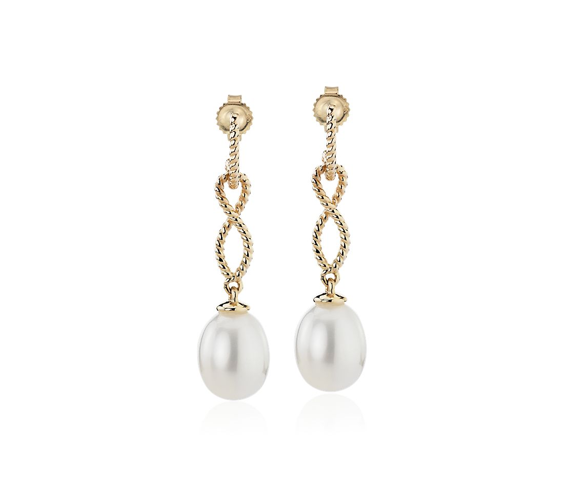 Freshwater Cultured Pearl Earrings with Infinity Twist Drop in 14k Yellow Gold (7.5-8mm)