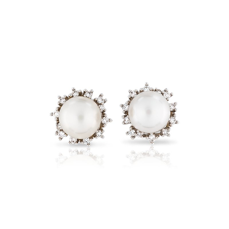 Freshwater Cultured Pearl Earrings with Scatter Diamond Halo in 1