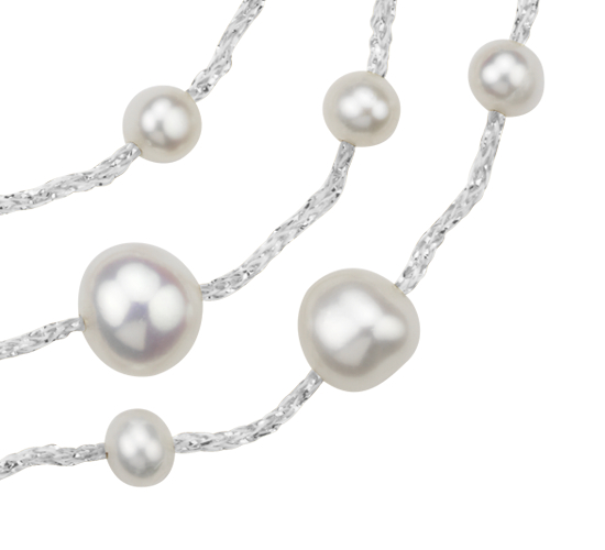 Collier en perles de culture d'eau douce triple rang