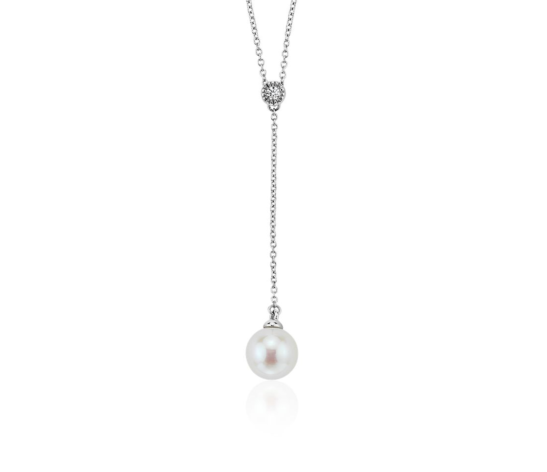 Collier lariat de perles de culture d'eau douce et diamants sertis droits en or blanc 14 carats (8-8,5 mm)