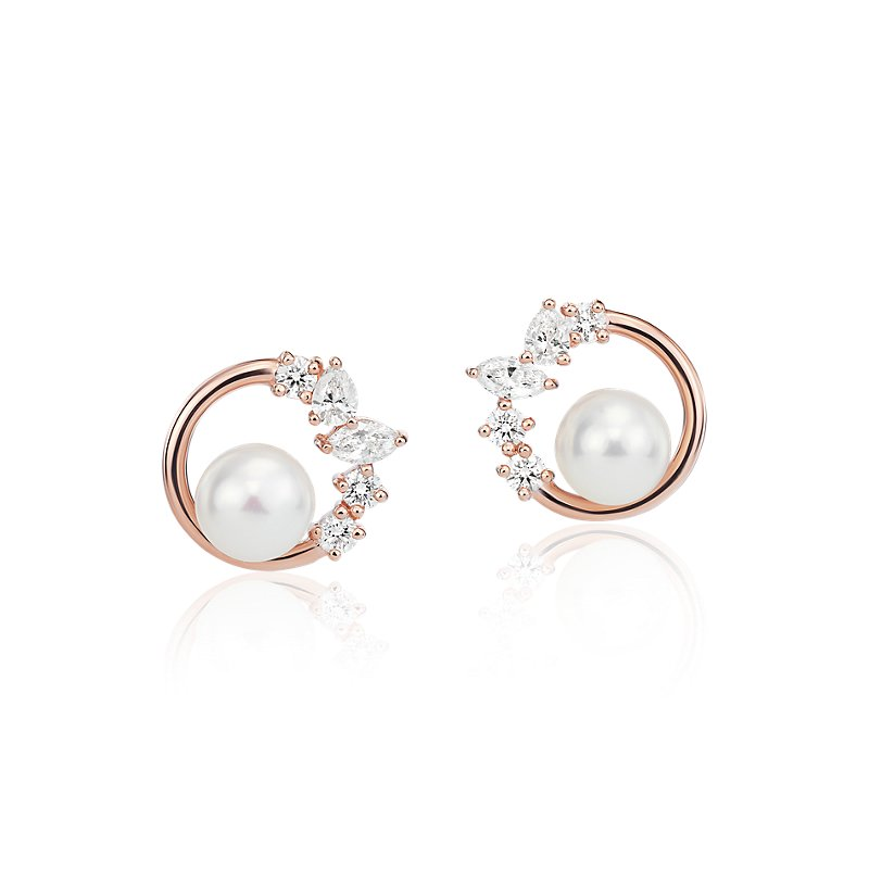 Freshwater Cultured Pearl and Mixed-Shape Diamond Earrings in 14k