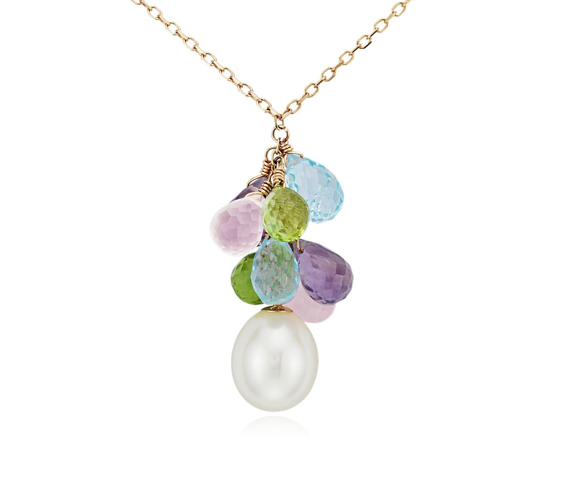 Freshwater Cultured Pearl and Multicolor Gemstone Briolette Necklace in 14k Yellow Gold