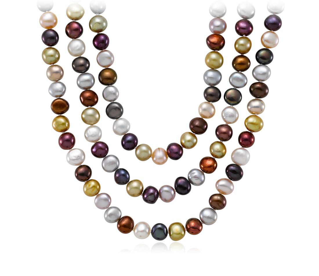 "Jewel-Tone Freshwater Cultured Pearl Necklace with Sterling Silver - 54"" Long"