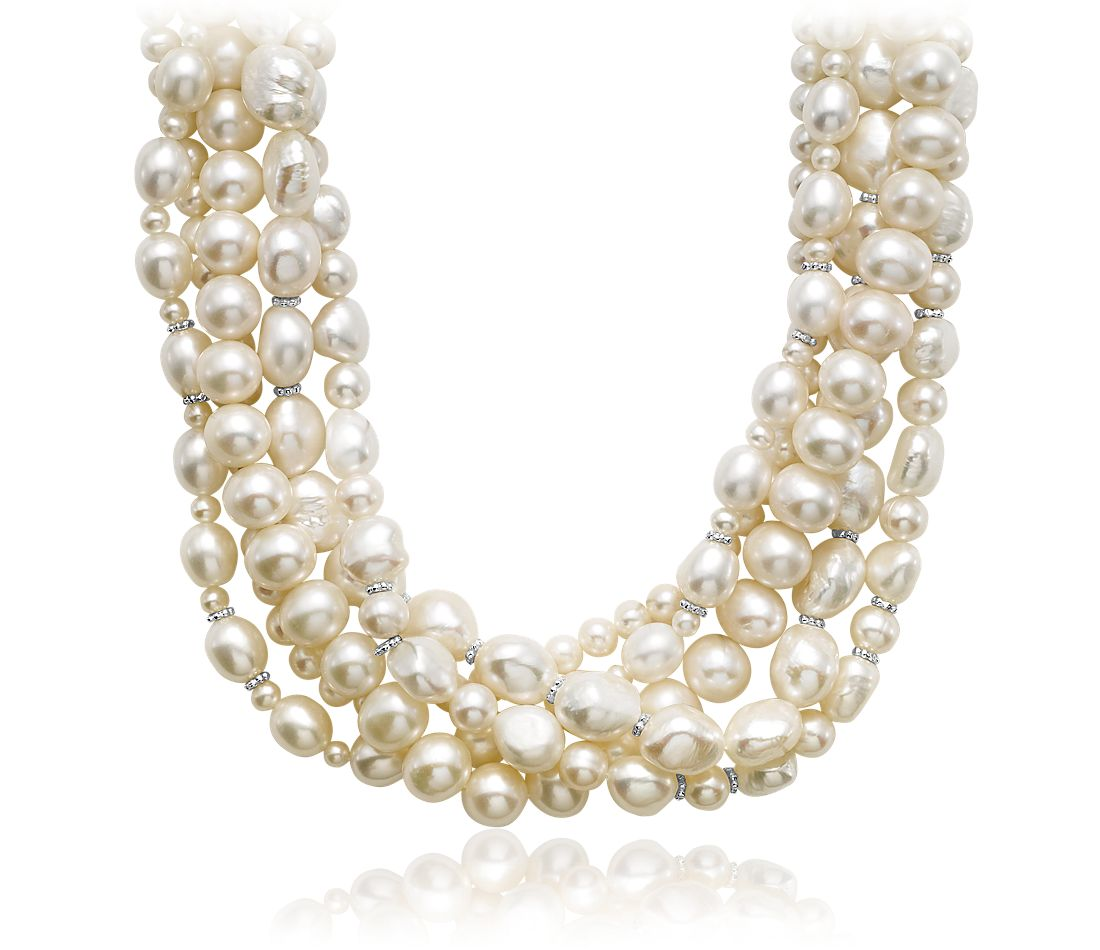Multi-Strand Freshwater Cultured Pearl Necklace with Sterling Silver