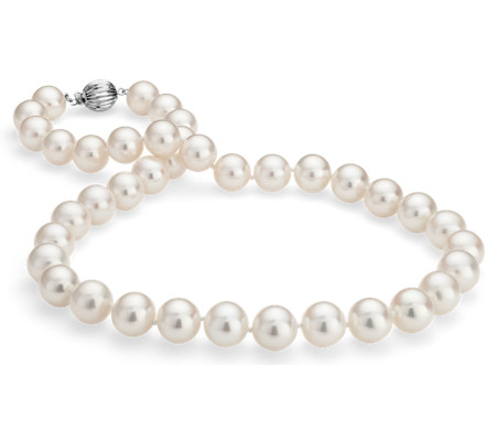 Freshwater Cultured Pearl Strand Necklace in 14k White Gold (10.5-11.5mm)