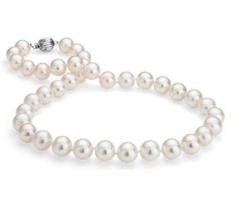 Collar de tres vueltas de perlas cultivadas de agua dulce en oro blanco de 14 k (10,5-11,5mm)