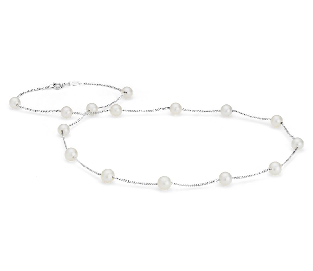 Freshwater Cultured Pearl Tincup Stationed Necklace in 14k White Gold (5.5mm)