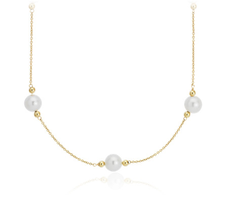 Freshwater Cultured Pearl Stationed Necklace in 14k Yellow Gold (7-8mm)