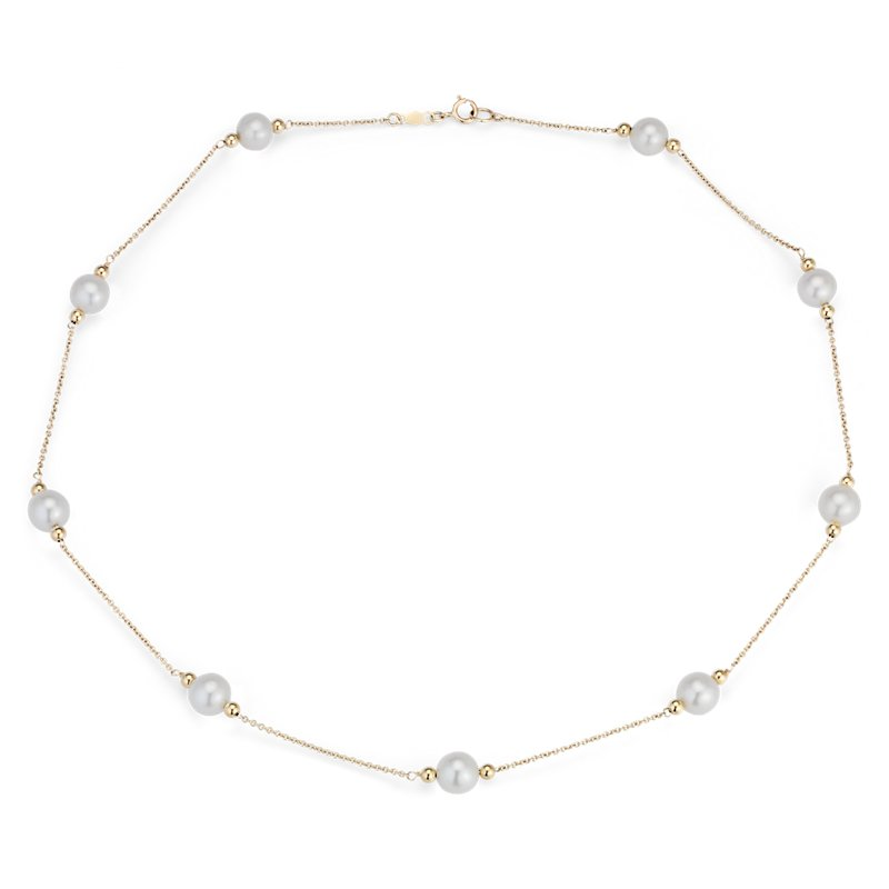 Freshwater Cultured Pearl Stationed Necklace in 14k Yellow Gold (