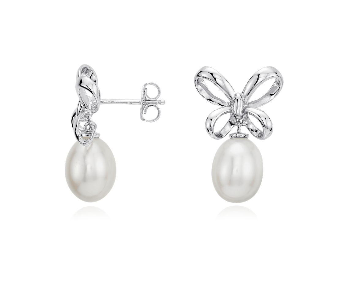 Freshwater Pearl Bow Earrings in Sterling Silver