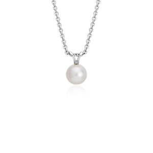 Colgante de perlas cultivadas de agua dulce con plata de ley (7,0-7,5mm)