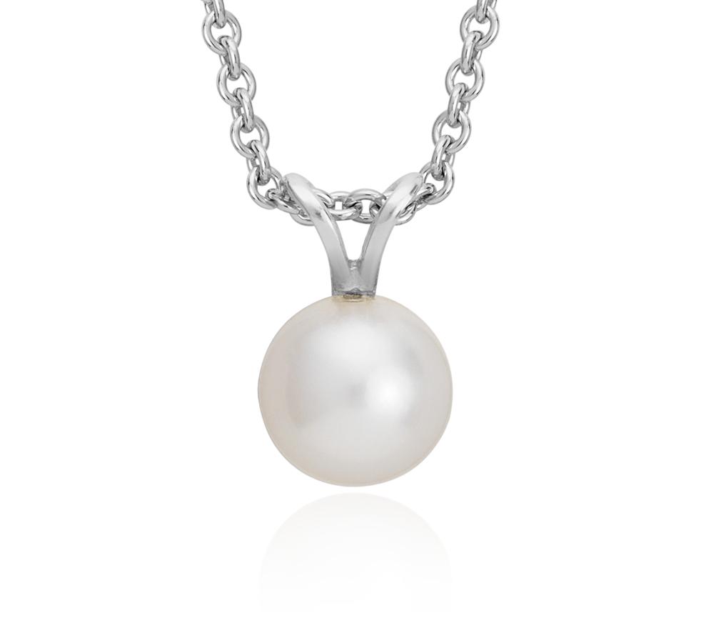 Pendentif de perles de culture d'eau douce avec argent sterling (7,0-7,5mm)