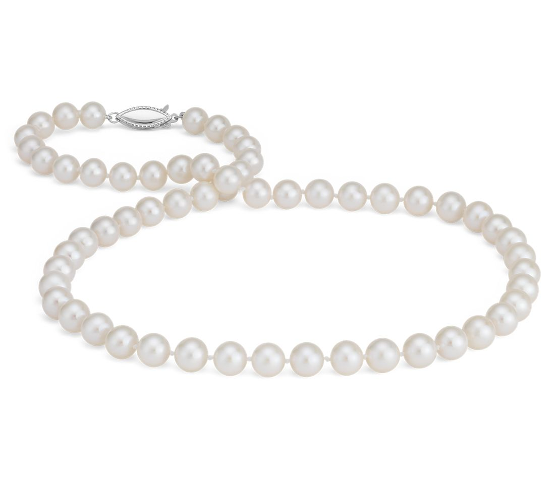 Collier en perles de culture d'eau douce en or blanc 14 carats (7,5-8,0 mm)