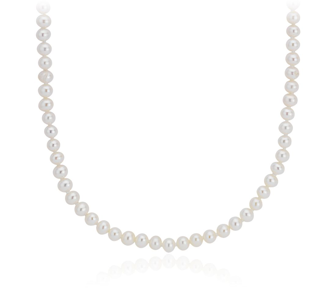 Freshwater Cultured Pearl Strand Necklace in 14k White Gold (3.5-4mm)