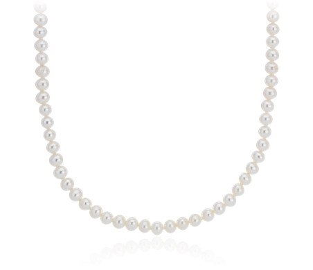 Freshwater Cultured Pearl Strand Necklace in 14k White Gold (3.5 - 4mm)