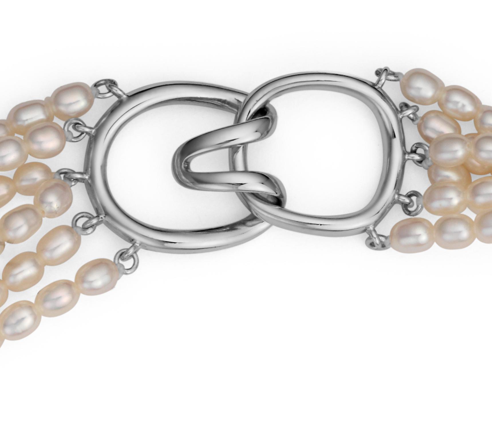 Collar torzado de perlas cultivadas de agua dulce con plata de ley (3,5mm)