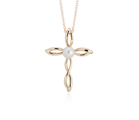 Freshwater Cultured Pearl Twist Cross Pendant in 14k Yellow Gold (5-5.5mm)