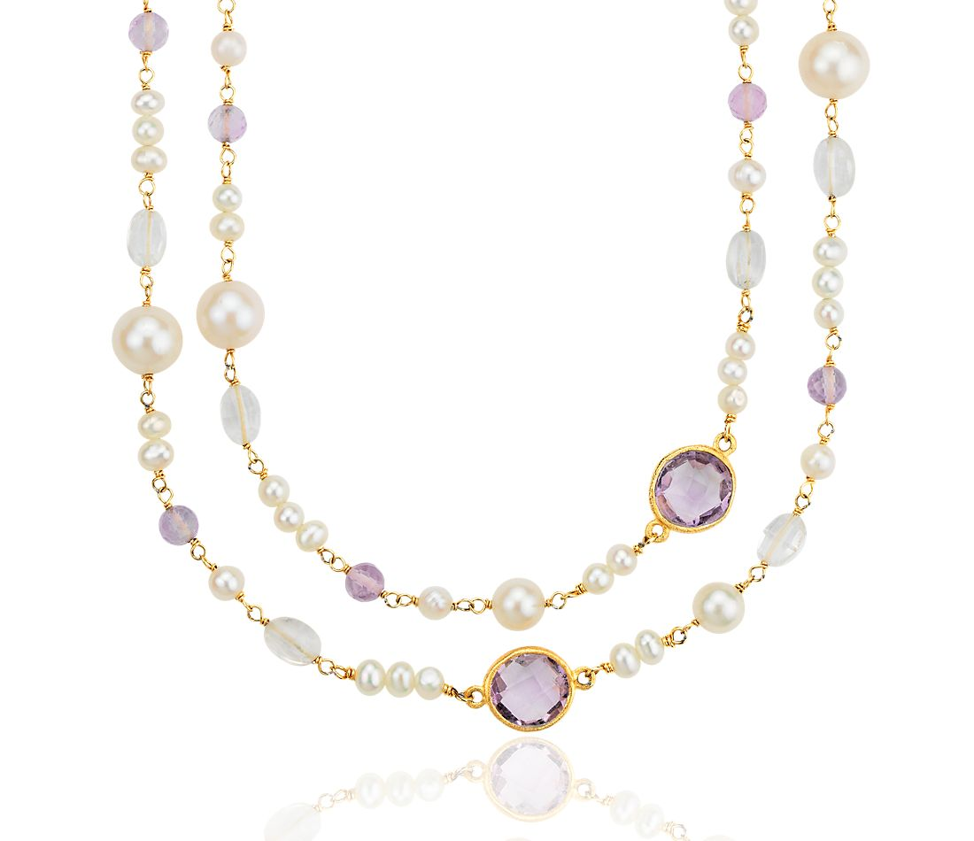 Freshwater Cultured Pearl, Amethyst, and White Quartz Necklace in Gold Vermeil