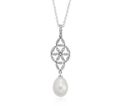Freshwater Cultured Pearl and Diamond Vintage-Inspired Pendant in 14k White Gold