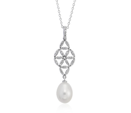 Freshwater Cultured Pearl and Diamond Vintage-Inspired Pendant in 14k White Gold (7.5-8mm)