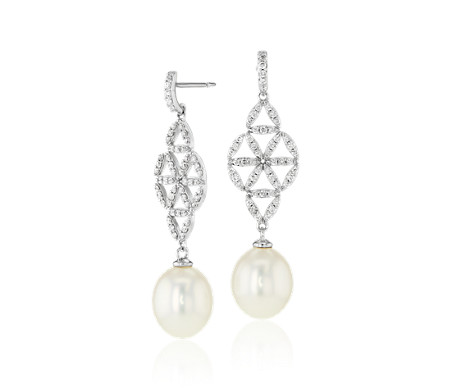 Freshwater Cultured Pearl and Diamond Vintage-Inspired Earrings in 14k White Gold (7.5-8mm)