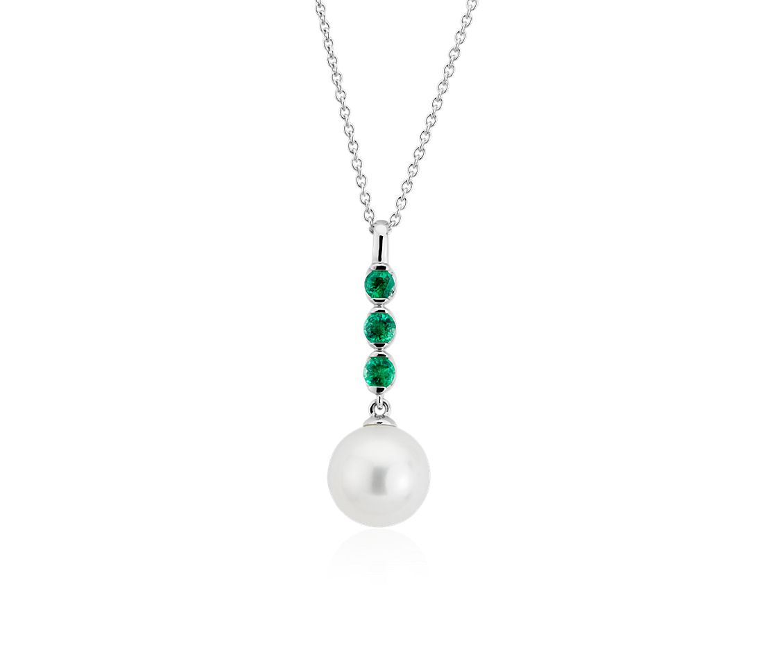 Freshwater Cultured Pearl and Emerald Drop Pendant in 14k White Gold (8mm)