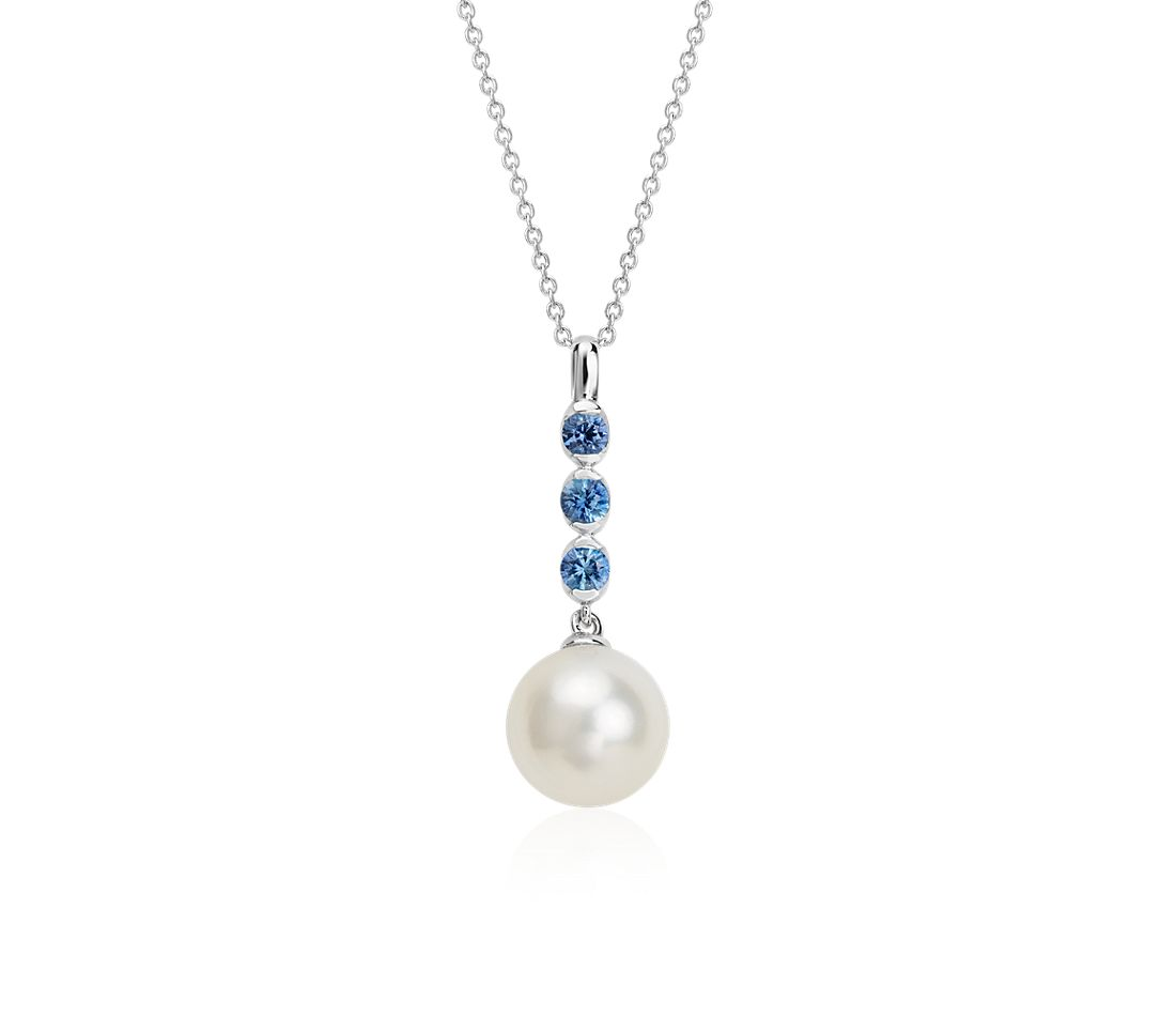 Freshwater Cultured Pearl And Sapphire Drop Pendant In 14k