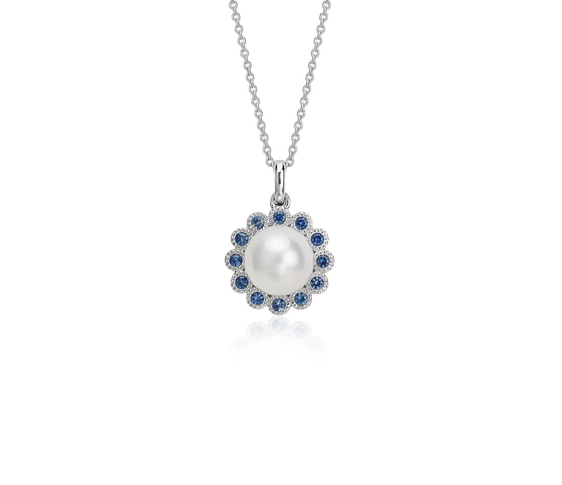 Freshwater Cultured Pearl And Sapphire Pendant In 14k