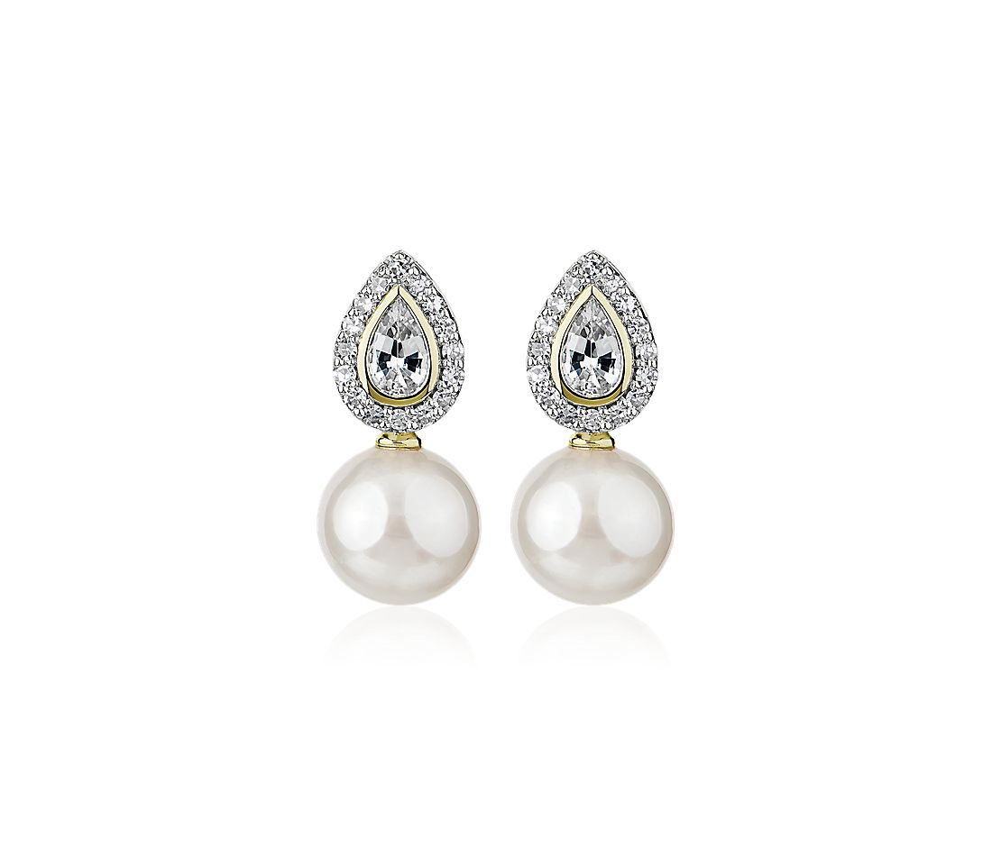 Freshwater Pearl and White Sapphire Drop Earrings in 14k Yellow Gold