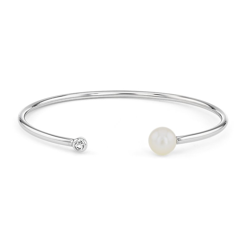 Cultured Freshwater Pearl Bangle Bracelet with White Topaz Detail