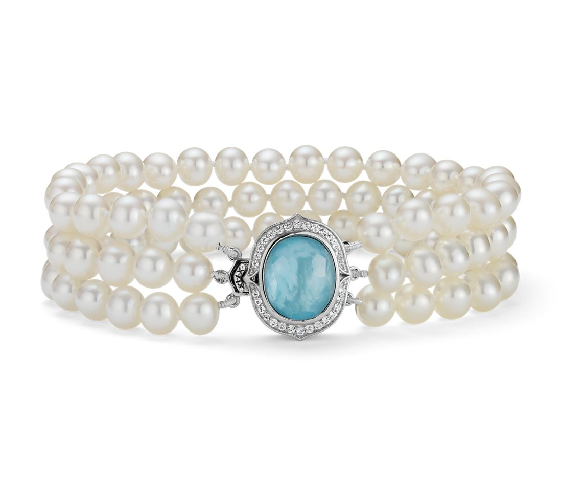 Triple Strand Baroque Freshwater Cultured Pearl And Mother Of Bracelet In Sterling Silver 5mm