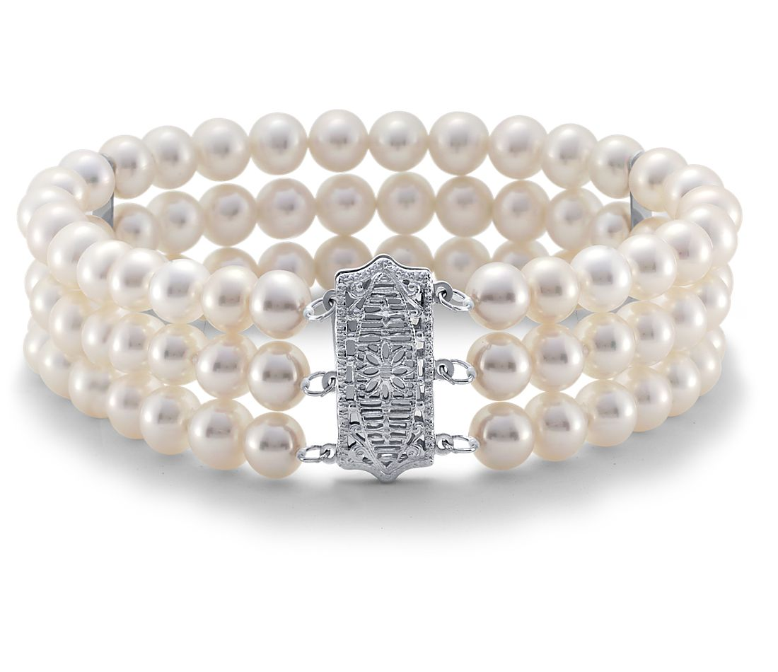 Triple Strand Freshwater Cultured Pearl Bracelet In 14k White Gold 6 5mm