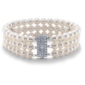 Bracelet de perles de culture d'eau douce triple rang en or blanc 14carats (6,0-6,5mm)