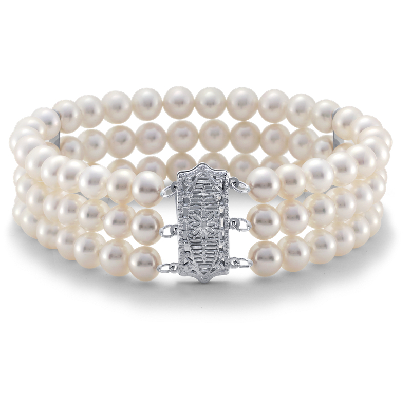Triple-Strand Freshwater Cultured Pearl Bracelet in 14k White Gol
