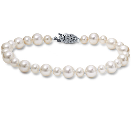 Freshwater Cultured Pearl Garland Bracelet in 14k White Gold (5-7mm)