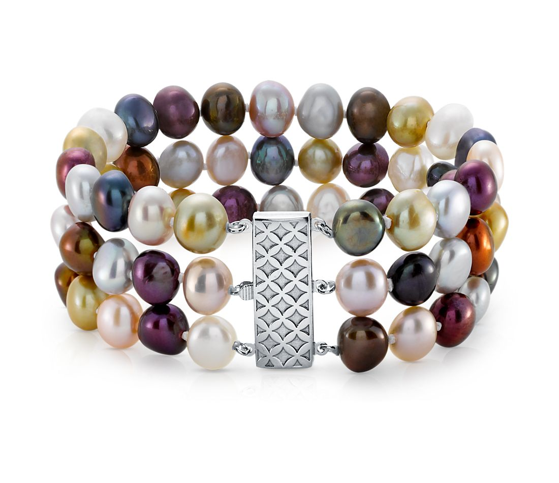 Jewel-Tone Freshwater Cultured Pearl Triple Strand Bracelet