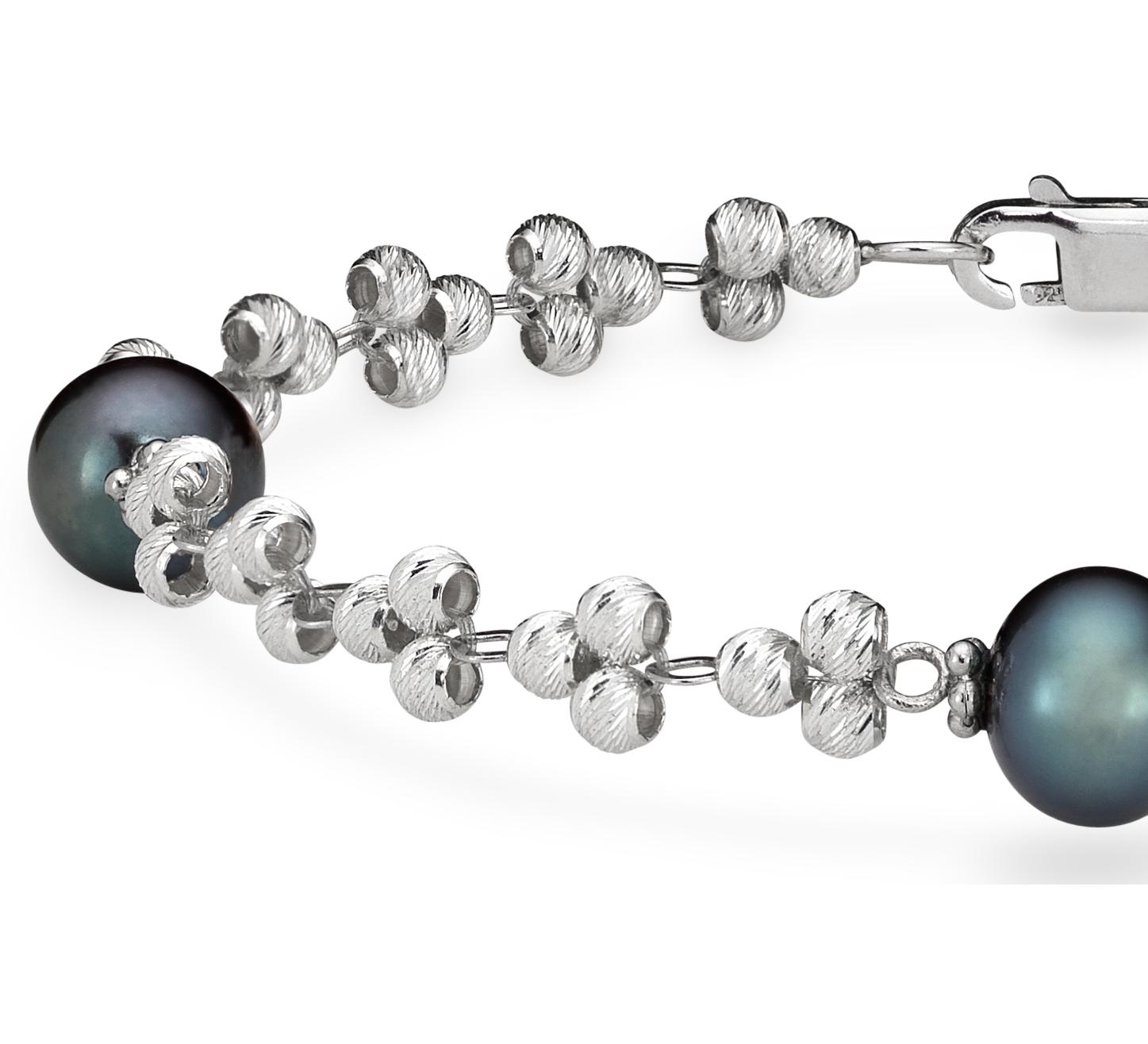 Brazalete de perla negra cultivada en agua dulce y abalorio brillante en plata de ley