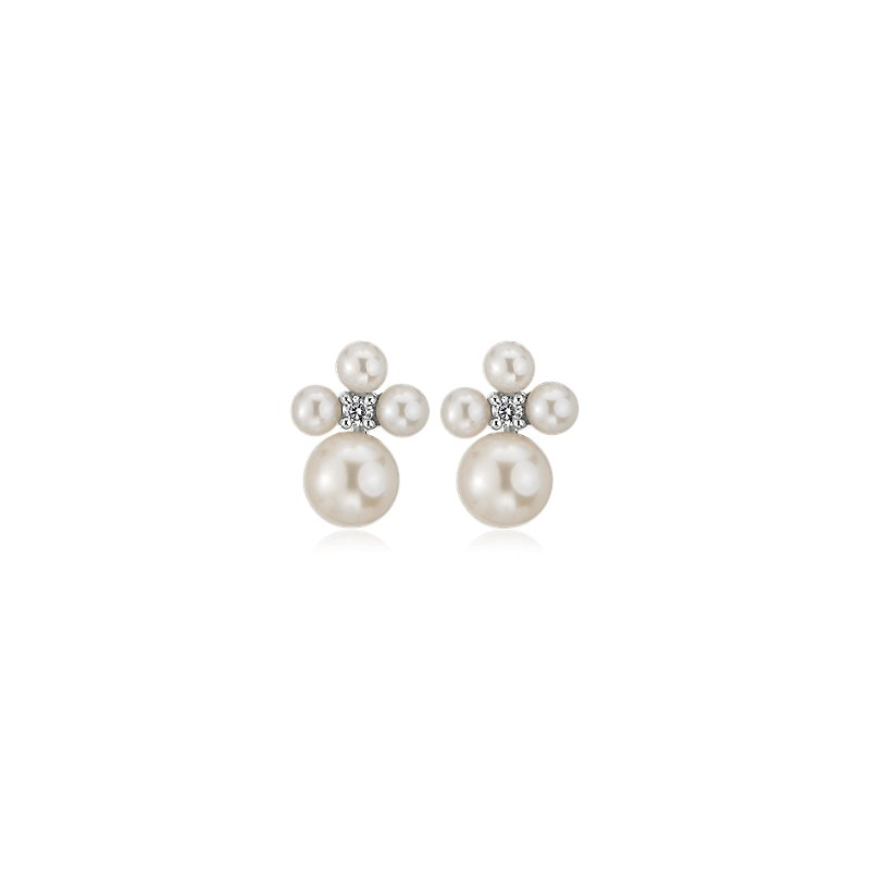 Freshwater Pearl Cluster Stud Earrings in 14k White Gold