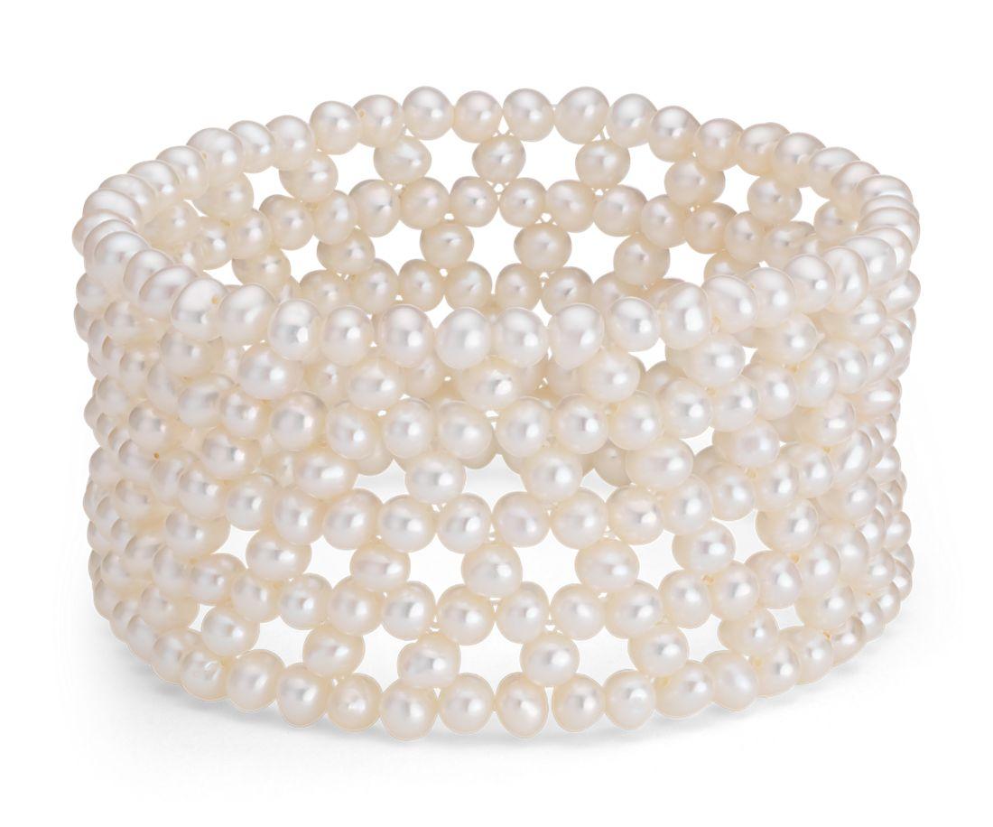 Freshwater Cultured Pearl Cuff Bracelet 4mm