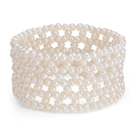 Freshwater Cultured Pearl Cuff Bracelet (4mm)