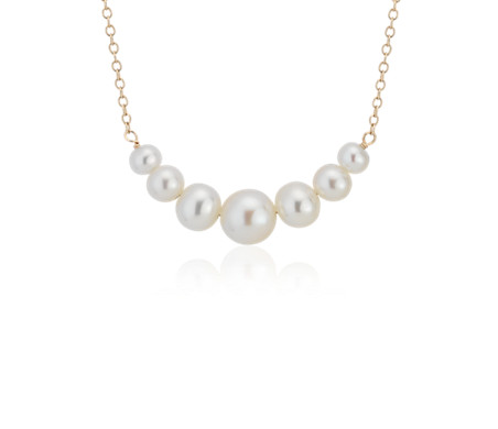 Freshwater Cultured Pearl Smile Necklace in 14k Yellow Gold (3.5-6.5mm)