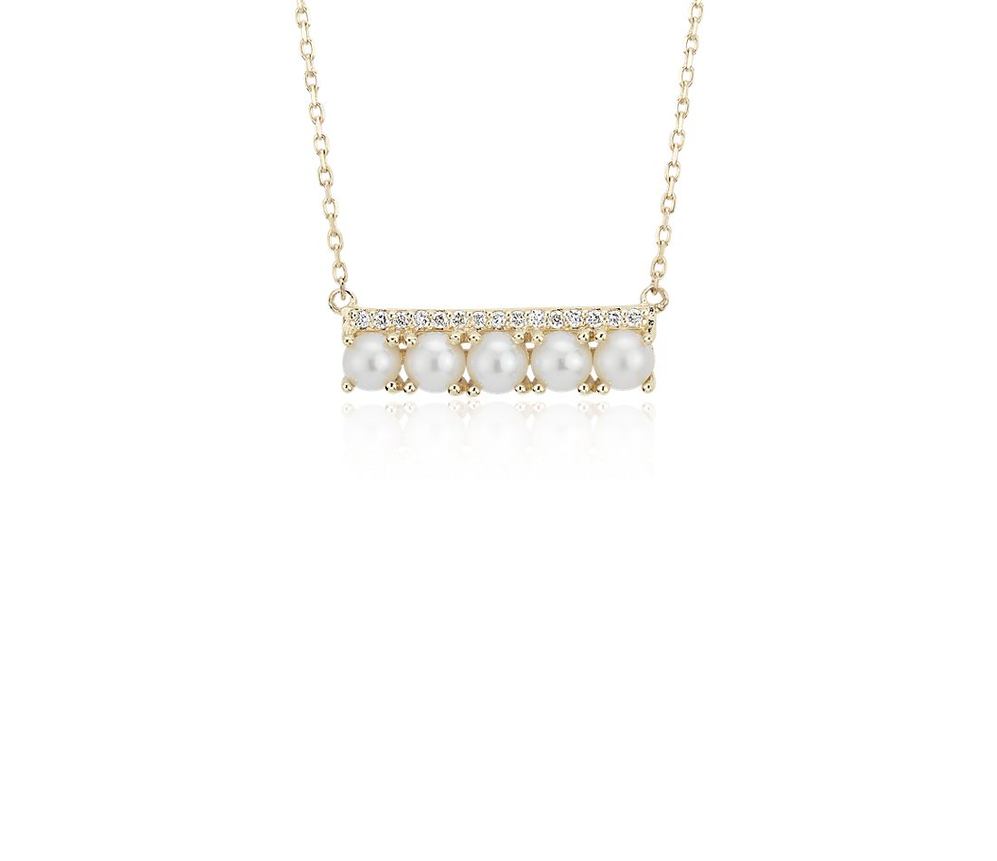 Freshwater Cultured Pearl And Diamond Bar Necklace In 14k