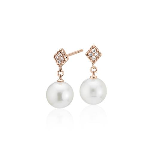 Freshwater Cultured Pearl Drop Earrings With Diamond In