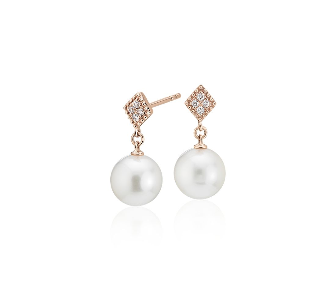 Freshwater Cultured Pearl Drop Earrings with Diamond in 14k Rose Gold (7.5-8mm)