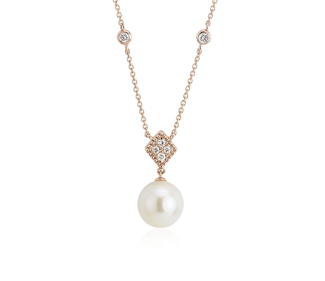 Freshwater Cultured Pearl Drop Necklace with Diamond in 14k Rose Gold (8-8.5mm)