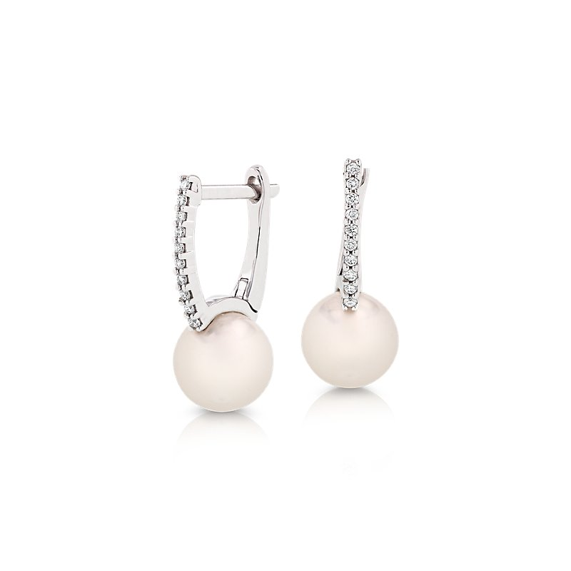 Freshwater Cultured Pearl Huggie Earrings with Diamond Detail in
