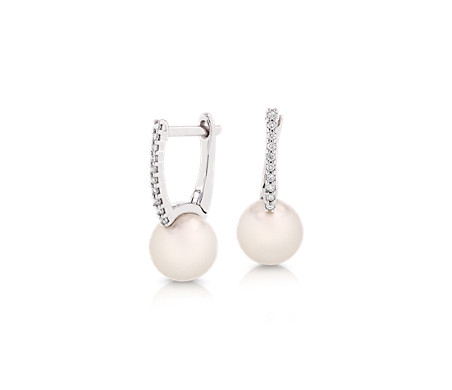 Freshwater Cultured Pearl Huggie Earrings with Diamond Detail in 14k White Gold (7.5-8mm)