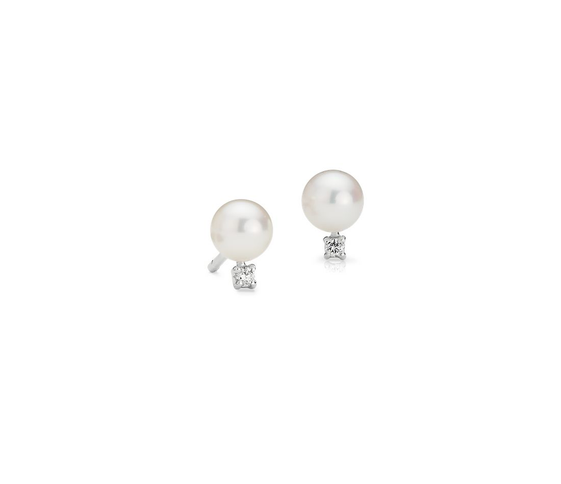 Freshwater Cultured Pearl And Diamond Stud Earrings In 14k White Gold  (5055mm